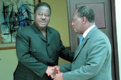 Henri Konan Bédié (à gauche) et Alassane Ouattara se préoccupent des élections prochaines - Former president Henri K. Bedie and former PM Alassane D Ouattara (the two used to be fierce foes) - ADO HKB RDR PDCI