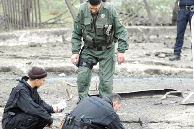 La police sur les lieux d'une attaque terroriste.
