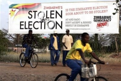 An advertising billboard for the pressure group, Democracy Now, in Musina, South Africa, in 2008.