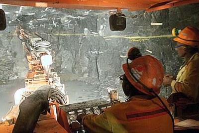 Mining underground at Ngezi, a Zimbabwean platinum mine
