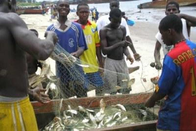 Des pêcheurs à Monrovia