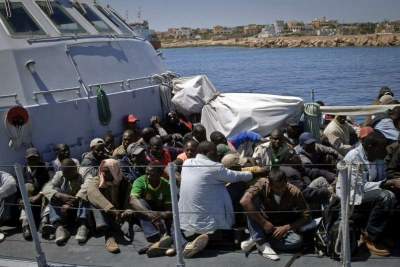 These people were among almost 500 people rescued from a skiff in the Mediterranean and taken by six Italian boats to Lampedusa (file photo).