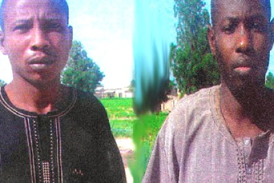UN house blast suspects paraded by Department of State Services Babagana Kwaljima and Babagana Mali.