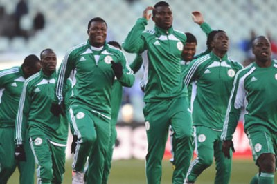 Super Eagles training ahead of the 2010 World Cup clash against Greece.