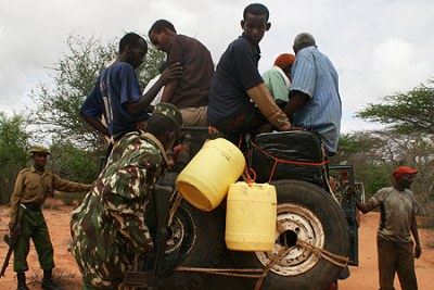 Somali refugees being ferried to Dadaab from Liboi as Kenyan troops gear up for a major offensive against Al Shabaab militants at Afmadow (file photo).