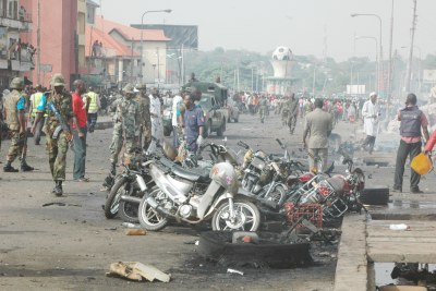The Okada riders park along junction road by Sardauna crescent affected by the explosion in Kaduna.