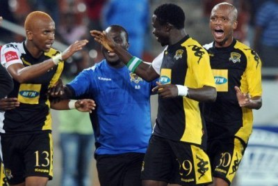 South African club Black Leopards celebrating.