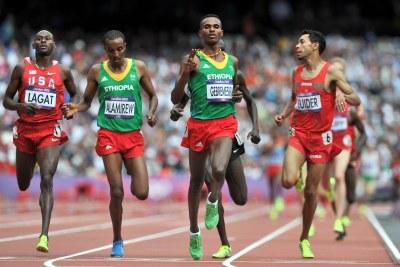 Les athlètes éthiopiens sur le 5000m à Londres.