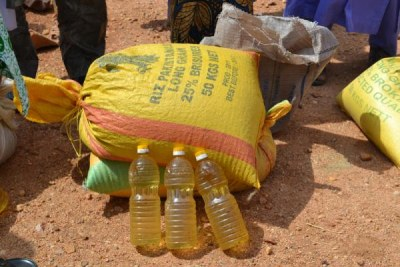 Oil and rice make up part of the food kit.