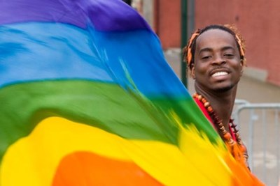 Displaying the rainbow flag of gay rights activists: Despite vocal opposition in a number of African countries, acceptance is slowly gaining ground (file photo).