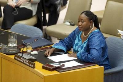International Criminal Court (ICC) prosecutor Fatou Bensouda addresses the Security Council (file photo).
