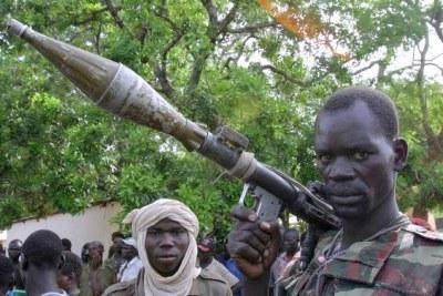 (Photo d'archives) - Des rebelles dans le nord-est de la Centrafrique.