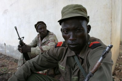 Rebel camp in the north-eastern Central African Republic.