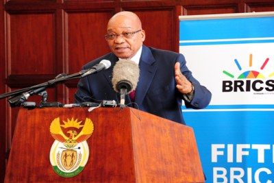 President Jacob Zuma briefing the media on the hosting of BRICS Summit and the events that occurred in the Central African Republic. Sefako Makgatho Guest House, Pretoria, 25 March 2013.