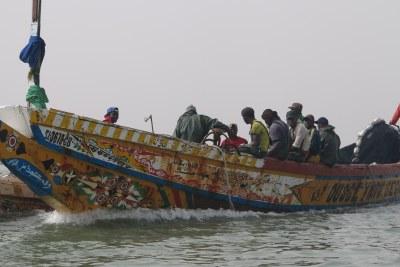 (Image d'archives) - Transfert de poissons entre deux pirogues de pêcheurs rencontrées sur la route de la brèche à Saint-Louis du Sénégal