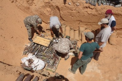 Libyan rebels volunteered to clear mines and explosive remnants of war (file photo).