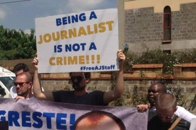 Journalists protest (file photo)