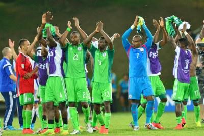 Les joueurs nigérians célébrant leur victoire face à la Bosnie.