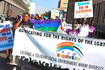 Protesters in Botswana marching for LGBT rights.