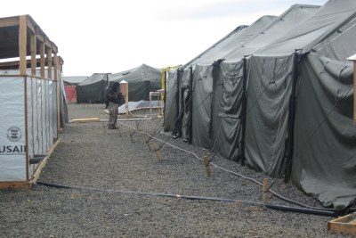 A tent for health care workers at the new Ebola treatment unit( file photo)