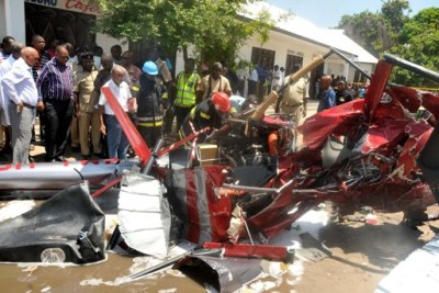 Wreckage of a helicopter, which crashed at Kipunguni B Moshi Bar area in Dar es Salaam killing all four passengers.
