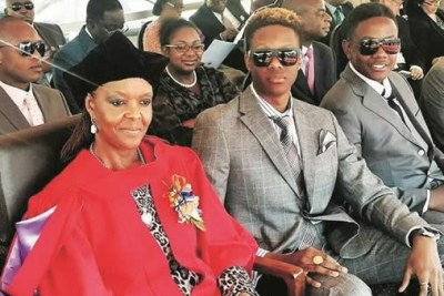 The Mugabes: From left Grace, Robert jr and Bellarmine Chatunga (file photo).