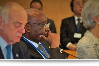IMF/WB 2015 Spring Meetings: EU President, President Donald Kaberuka from AfDB and Christine Lagarde, head of the IMF.