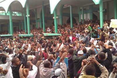 Muslims in Addis Ababa protest against what they perceive as government interference in religious affairs (file photo).