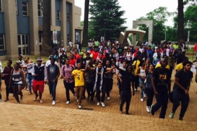 Students at Wits University protest the fee hike.