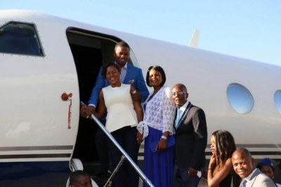 Prophet Shepherd Bushiri prepares to enter his private jet.