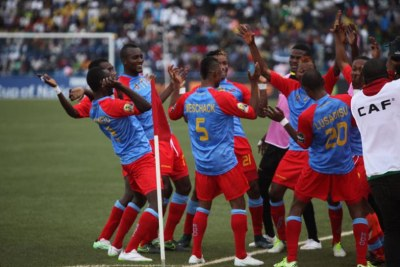 DR Congo players celebrate one of their goals against Ethiopia in the first match: 2016 CHAN in Rwanda.