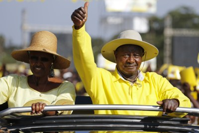 President Museveni and his wife, Janet Museveni on the campaign trail.