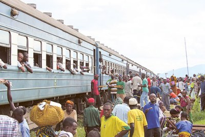 TAZARA Railway train halts at a station in Dar es Salaam.