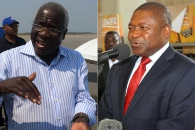 Opposition leader Afonso Dlakama, left and President Nyusi, right.