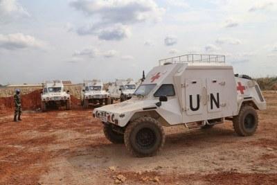 Des véhicules de la MINUSCA en République centrafricaine.