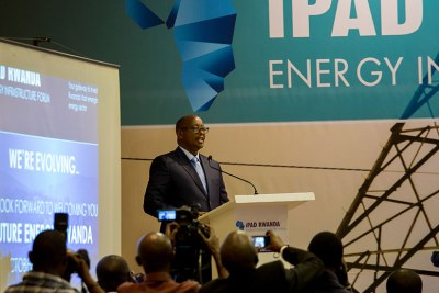 Infrastructure minister James Musoni gives his opening remarks during the third annual iPAD Rwanda Energy Infrastructure Forum in Kigali.