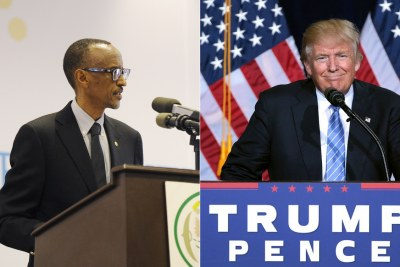Rwandan President Paul Kagame and U.S. President-Elect Donald Trump.