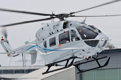 A helicopter airbus EC 145 -9 seater.