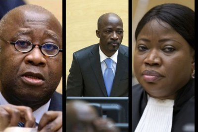 Laurent Gbagbo, Charles Blé Goudé and Chief Prosecutor of the ICC Fatou Bensouda.