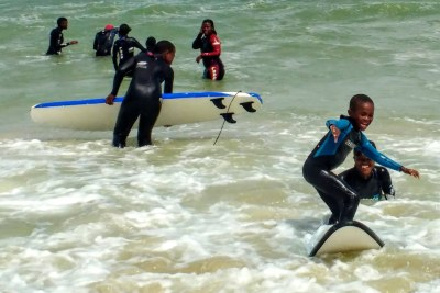 What are the benefits of surfing for our kids? Surfing is associated with improved confidence and esteem, decreased depression and anxiety, increased concentration and analytical skills, and improved physical well-being (file photo).