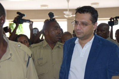 Dar es Salaam based businessman Yusuph Manji enters the Kisutu Resident Magistrate's Court where he was charged with drug abuse.