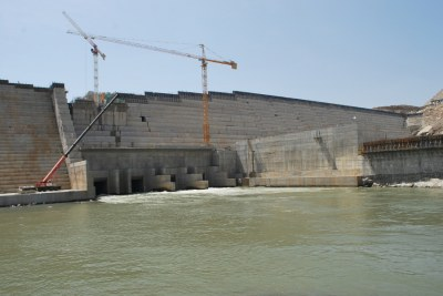 The Grand Renaissance Dam (GERD) under construction. The building of the dam on the Blue Nile is a source of conflict between Ethiopia, Sudan and Egypt.