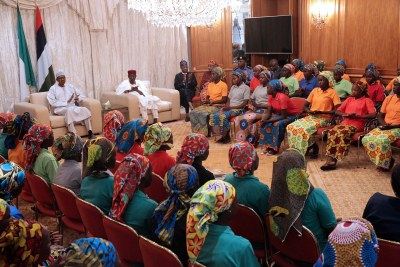 82 Chibok girls who were released by the Boko Haram militants (file photo).