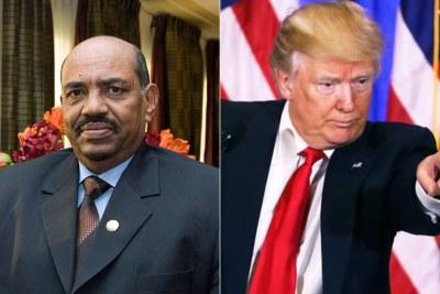 Left: Sudanese President Omar al-Bashir. Right: U.S. President Donald Trump.