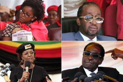 Bona Mugabe, Patrick Zhuwawo, Grace Mugabe and President Robert Mugabe (file photo).