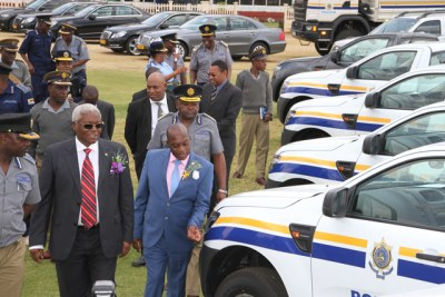 From left, Home Affairs Minister Ignatius Chombo and Police Commissioner Augustine Chihuri (file photo).
