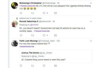 Some tweets  were written to make fun of Evelyn Anite, the State Minister of Finance for Investment and Privatisation said about Uganda Telecoms Limited.