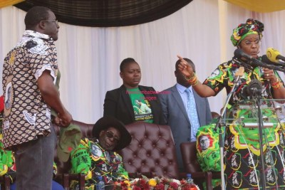 First Lady Grace Mugabe attacks Presidential Spokesperson George Charamba.