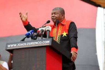 Ruling MPLA party presidential candidate, João Lourenço, during Lobito public rally.
