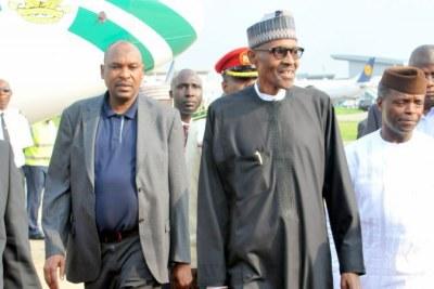 President Muhammadu Buhari arriving at the Abuja airport.